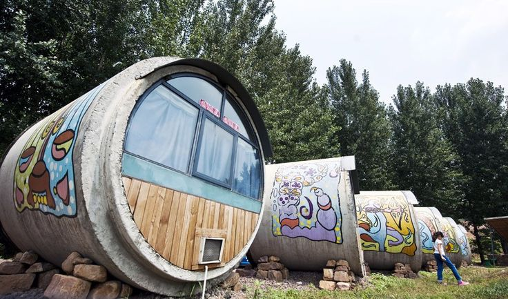 Rooms made from industrial grade concrete tubing at Cement Pipe Hotel, Ruyang county, Henan province, China