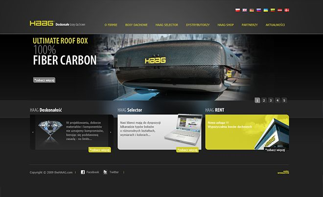 HAAG: Web page of the roof boxes manufacturer - Jamel Interactive interactive agency Gdansk, Tricity