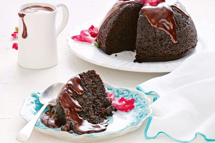 Chocolate steamed pudding with ganache