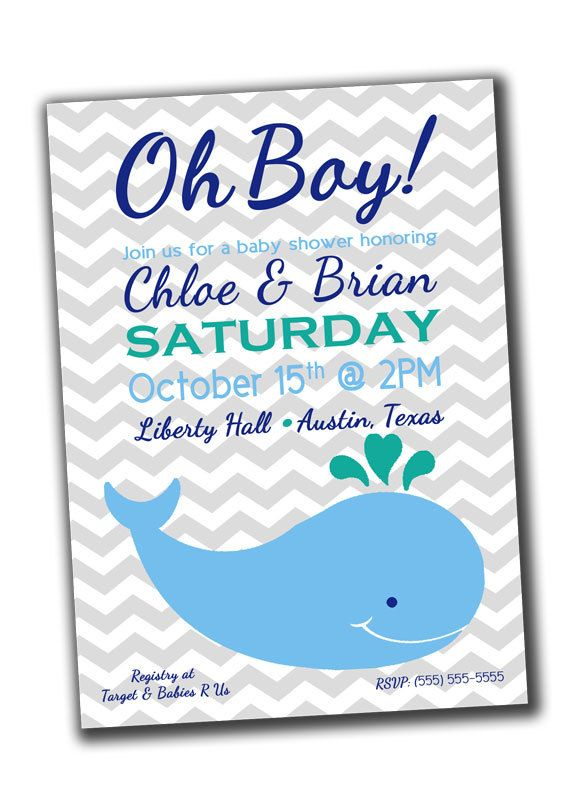 Baby Boy Shower Invitation - Blue Whale - Printable. $10.00, via Etsy.