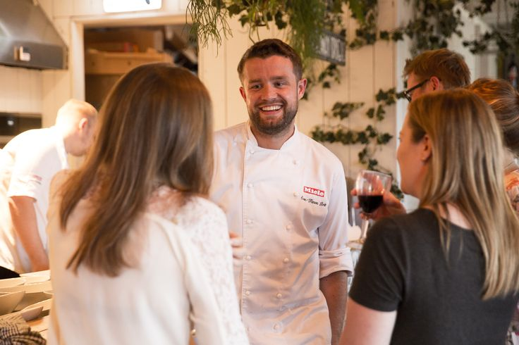 Our executive chef and owner of Hardley Hill Farm, Sven-Hanson Britt talking to guests during a break from service at the #FarmtoFork dining event, held on the John Lewis rooftop