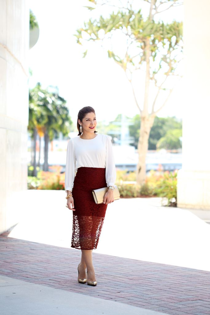 Blame it on Mei Miami Fashion Blogger 2016 Lace Burgundy Pencil Skirt Wedding Guest Look Special Occasion Outfit Gold  Louboutin Heels Louis Vuitton LV Gold Clutch Lace Pencil Skirt Chandelier Earrings What do wear to a wedding