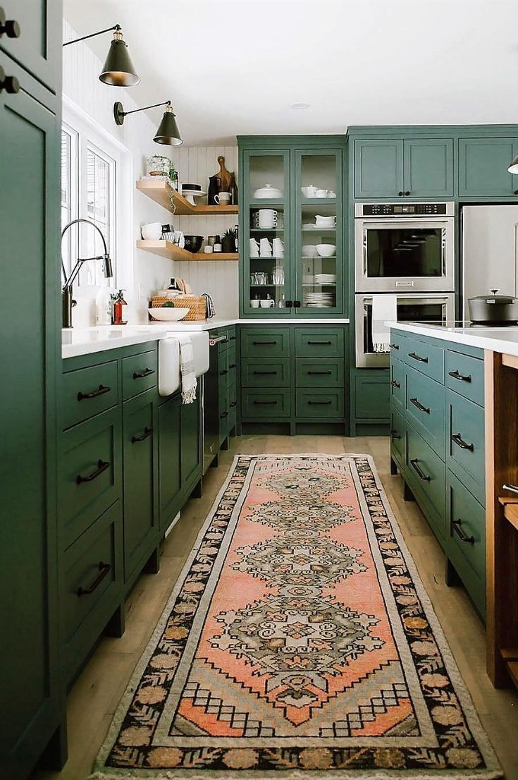 45 Modern Kitchen Design Ideas That Use Unconventional Geometry New 2019 Page 14 Of 45 Clear Crochet In 2020 Green Kitchen Cabinets Modern Kitchen Design Green Kitchen