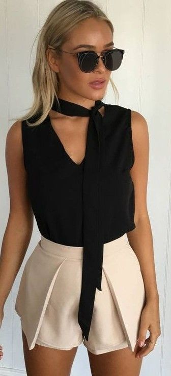 #summer #muraboutique #outfitideas |  Black Top + Beige Shorts