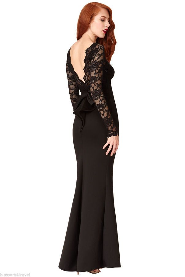 277854f5 Goddiva Long Black Lace Open Back Bow Maxi Evening Party Dress Prom  Bridesmaid#Lace#Open#Bow