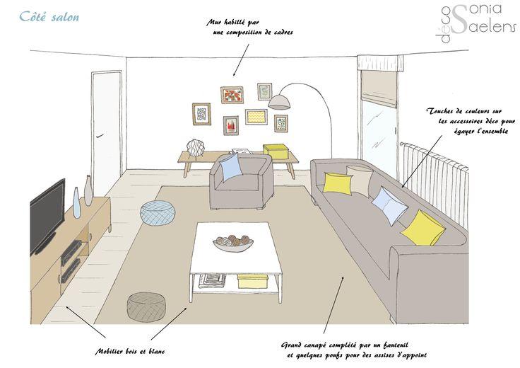 Style scandinave dans une pièce à vivre - Croquis
