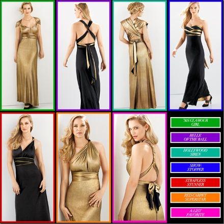 Avon FAR AWAY COLLECTION 16 Ways Reversible Maxi Dress coming this Fall to my Avon eStore! www.youravon.com/,stephaniecochran #avonfall #fallfashion #bridesmaids #blackandgold