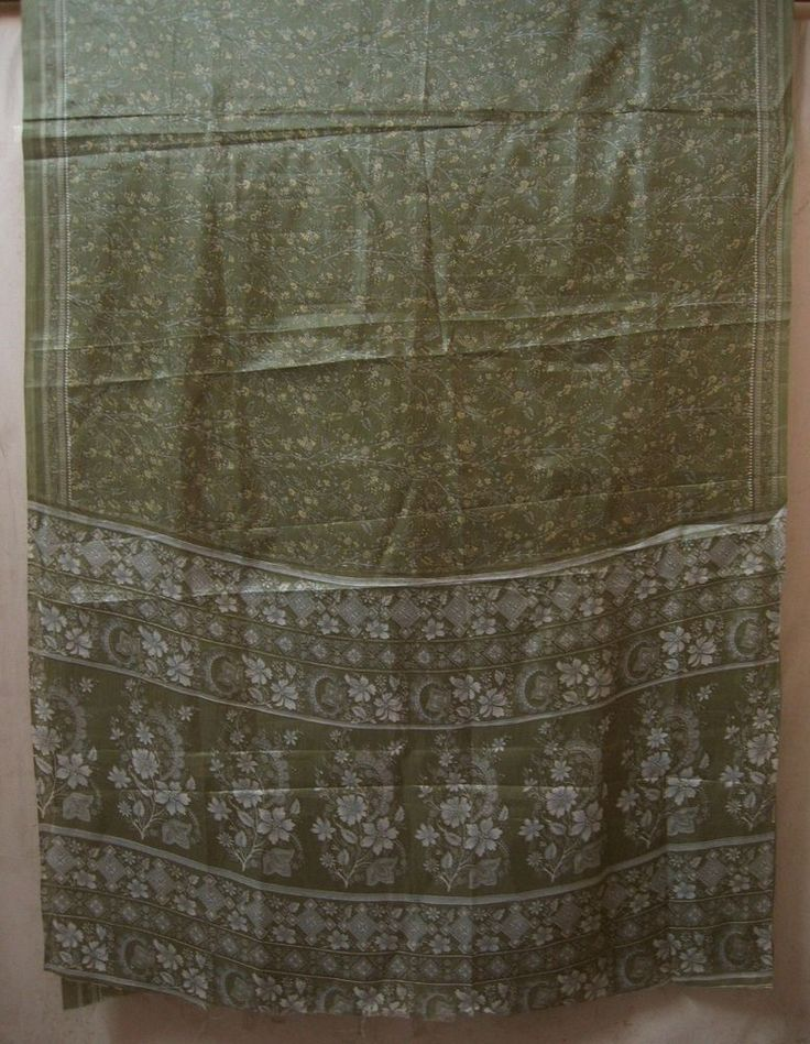 Light Green Paper Silk Antique Sari Saree SALE Fabric Mart London Indian #AC2OO