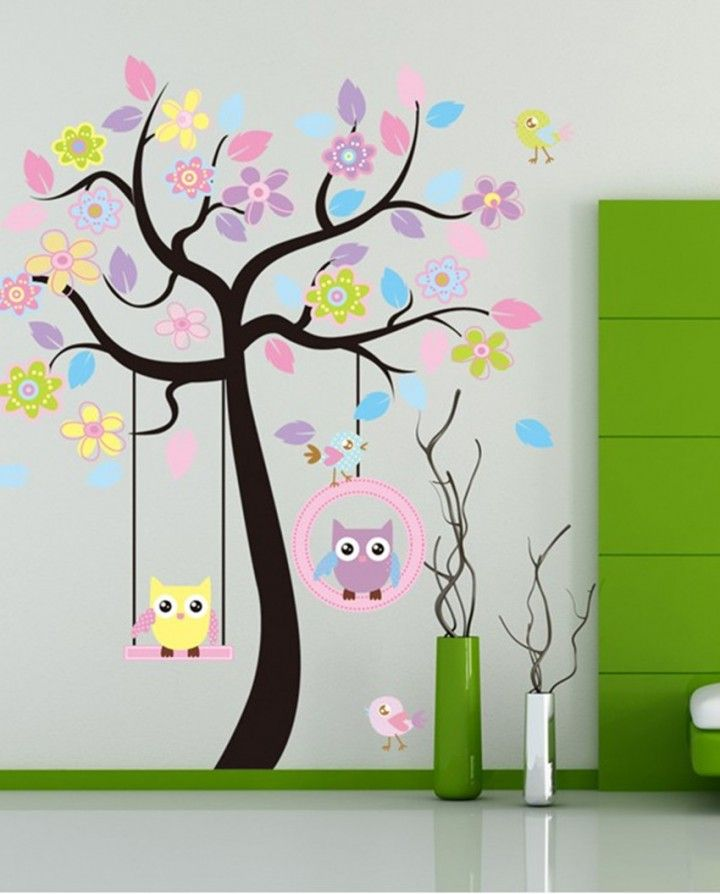 Huge Removable Swing Owl U0026 Birds Colorful Scroll Tree Wall Art Decal  Stickers For Nursery 67