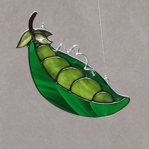 Stained Glass Pea Pod Suncatcher by FoxStainedGlass on Etsy
