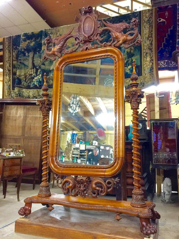 Exceptionnel Miroir Psyché Japonisant d'époque Napoleon III Signé, Daté Et Situé.