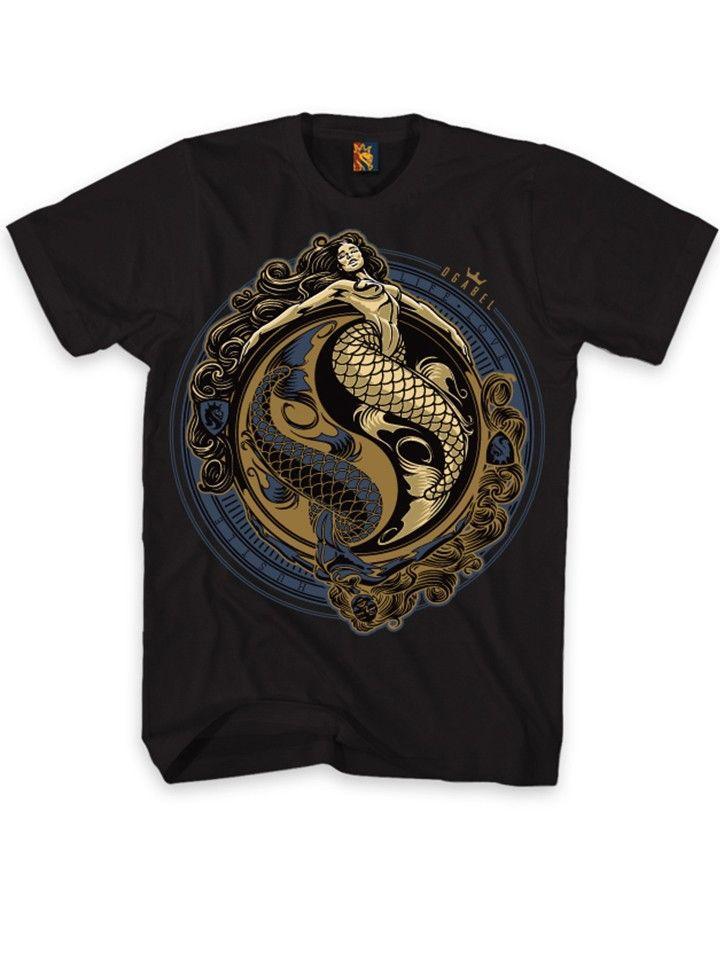 """Men's """"Yin Yang"""" Tee by OG Abel (Black) #inked #inkedshop #yin #yang #mermaid #gold #art #graphic #yinyang"""