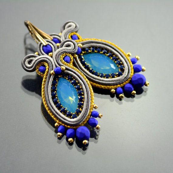 Blue & Gold Soutache Earrings Long Navy Blue di OzdobyZiemi