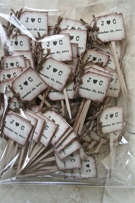 NEW Rustic Wedding Cupcake Toppers Wedding Drink Stirrers