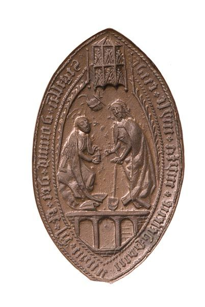 SEAL MATRIX St Mary Magdalene Leper Hospital Seal matrix of the Religious House and Leper Hospital of St Mary Magdalene, Mile End. This vesica-shaped (pointed oval) seal matrix has a legend in black letters: 'Sigillu domus dei et sce marie magdelene iuxta myle ende'. The appearance of Jesus Christ to St Mary Magdalene is shown in the centre.  Production Date: Late Medieval-Tudor; late 15th-early 16th century