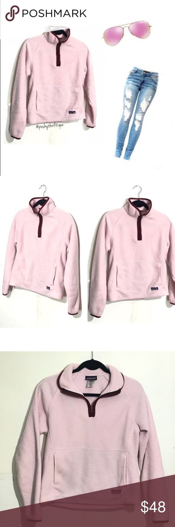 "Patagonia Womens Pink Long Sleeve Zipper Pullover SIZE: small  STYLE: outdoors  BRAND: Patagonia  MATERIAL: polyester  COLOR: pink with burgundy trim  MEASUREMENTS:  Length :Approx  23"" Underarm To Underarm : Approx 18"" Bust : Approx 36"" Sleeve : Approx 28"" CONDITION : Great Pre Loved Condition  COUNTRY OF MANUFACTURER : Mexico  SMOKE FREE & PET FREE ENVIRONMENT Patagonia Jackets & Coats"