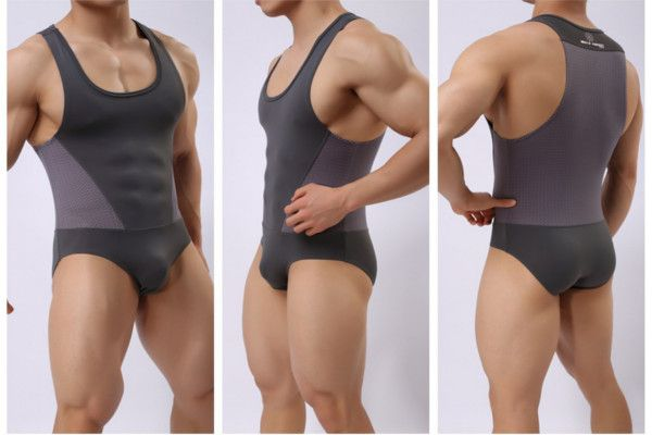 Men's Sexy Bodysuit Wrestling Onesie Transparent Mesh Lingerie Wrestling Leotard Hot Bodysuit