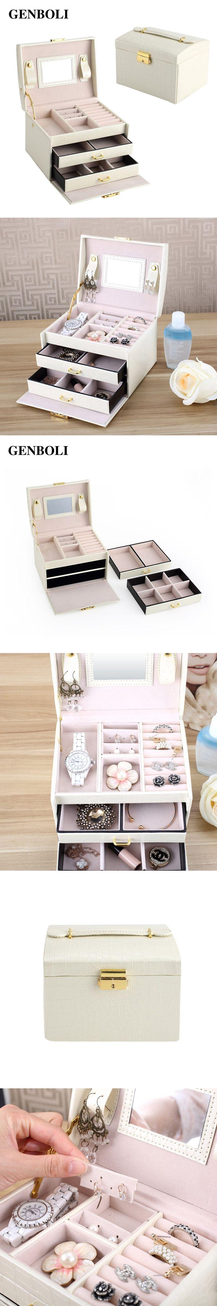 GENBOLI Jewelry Box Rings Bracelet Leather Jewelry Casket Organizer Display Makeup Storage Drawers Box Case with Mirror