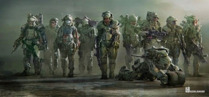 ' Edge of Tomorrow ' concept art : Squad exosuits (KJ)