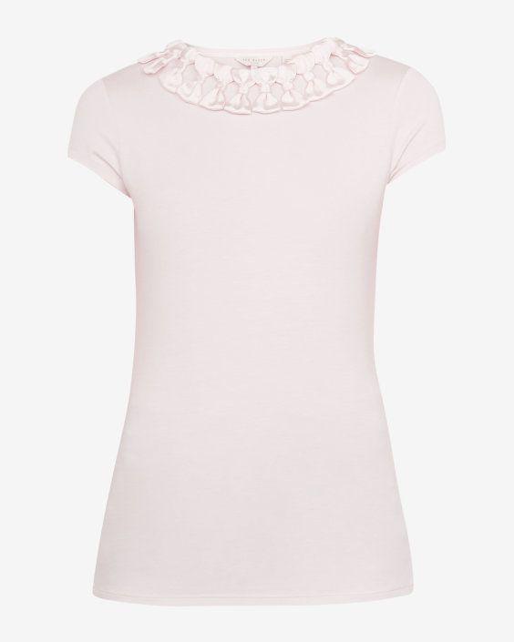 4cc25433d Bow neck trim T-shirt - Pink