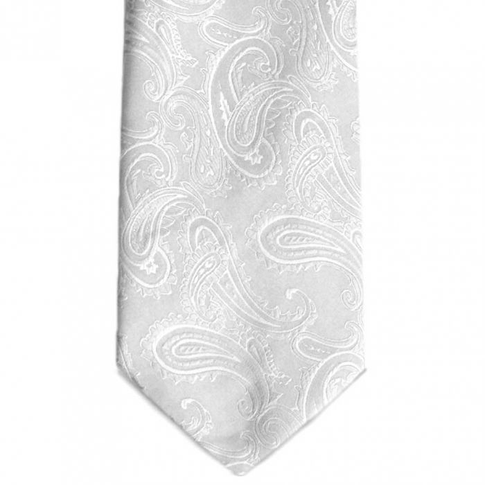 5f8a213523d83 White Sutter Paisley Extra Long Necktie | white tie | Extra long ...
