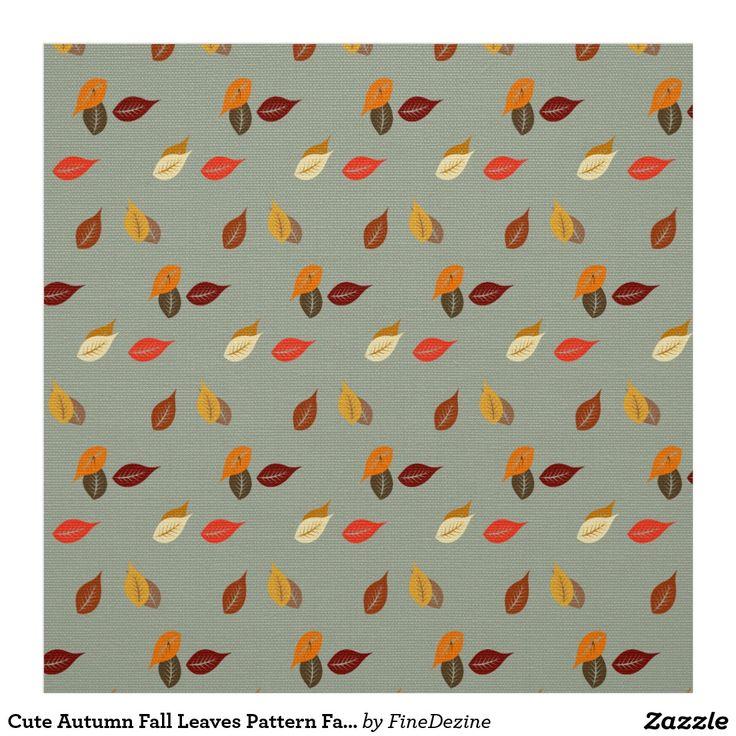 Cute Autumn Fall Leaves Pattern Fabric