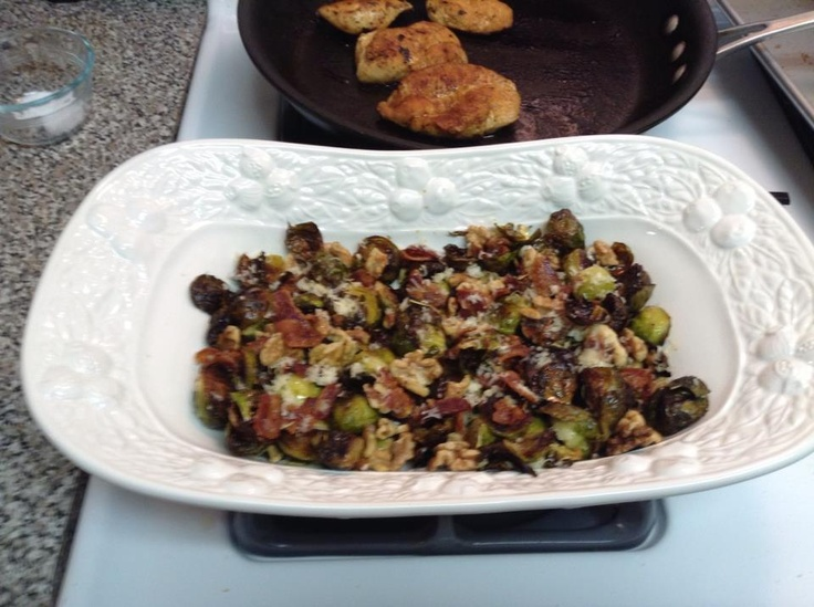 Roasted brussels sprouts with bacon, walnuts and parmesan cheese.