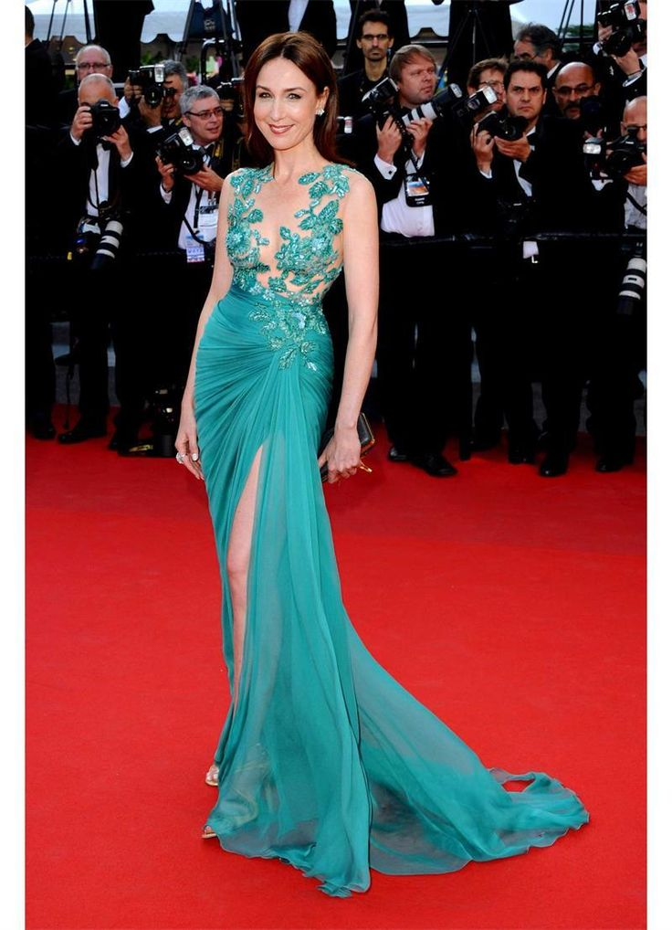 Stunning Evening Dresses Uk Teal Chiffon Zuhair Murad Dresses Side Slit Sheer Floral Top Sexy Chiffon Celebrity Evening Gowns Jewel Neck Sleeveless 2015 Fall Wear Stylish Evening Dresses From Marrysa, $109.01| Dhgate.Com