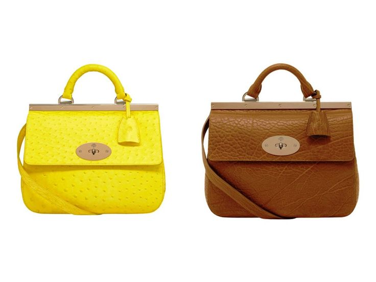 Mulberry Neon Yellow Ostrich and Ginger Suffolk Small Bag
