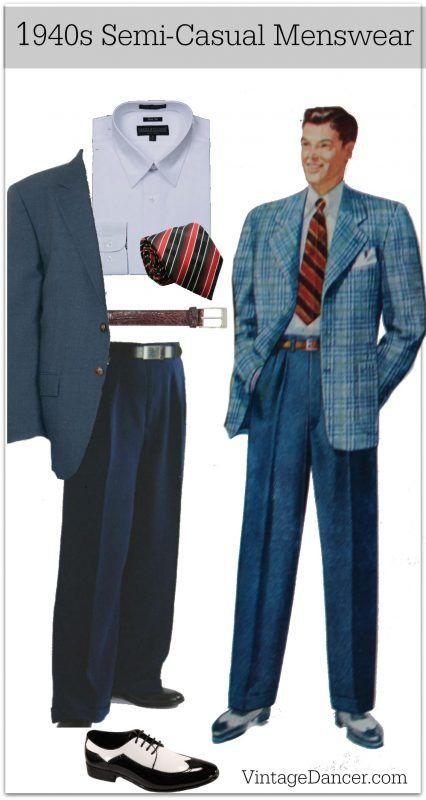 Men's 1940s semi casual sport coat blazer mens fashion clothing costume ideas at VintageDancer.com