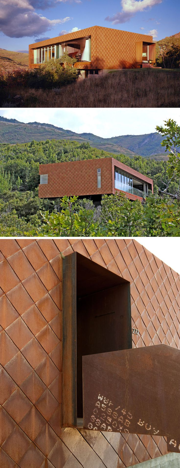 Weathering steel shingles on the exterior of this modern house it give it a textured look that resembles scales on a reptile.