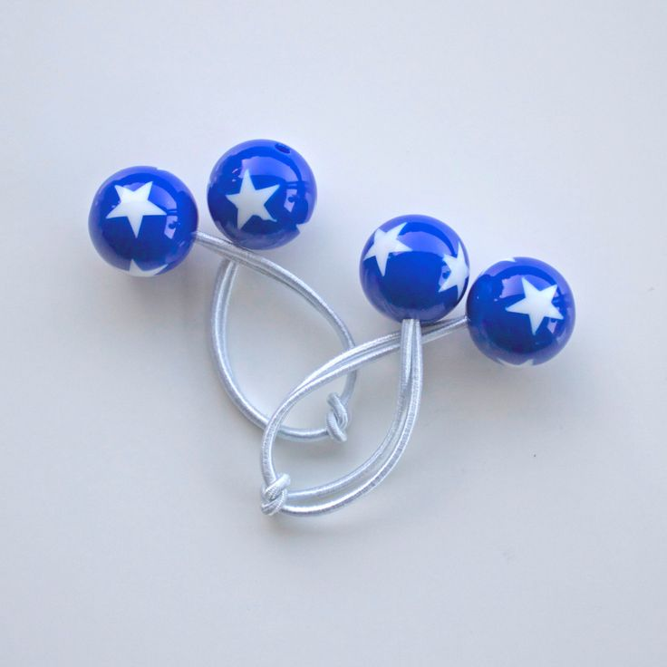 STARS. Hair ties. Elastic hair ties. Funky. Blue with white stars. Hearts. Retro style hair bobbles. by Smukie on Etsy