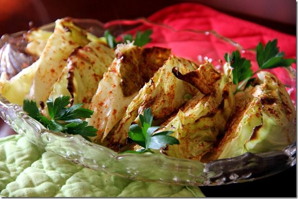 Cabbage wedges with honey mustard dressing
