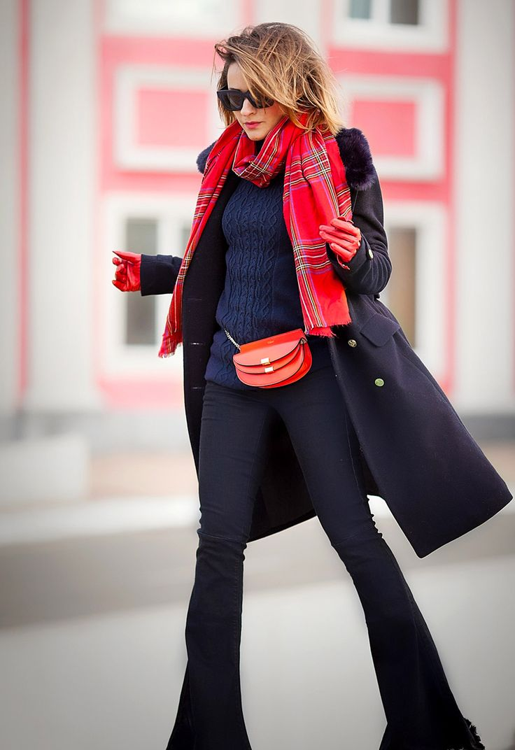 flare+jeans-navy+coat-plaid+scarf-winter+street+style+ideas