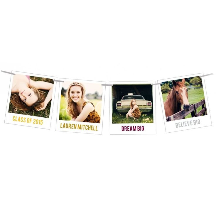 Your graduation announcements will rise above the rest when you send these four snapshot-style photos strung on a ribbon for friends and family to hang wherever they like. Each photo has room for a short caption underneath it, in your choice of colors. A hand-drawn chevron pattern decorates the back of three cards, while the fourth has a plain ecru background that gives you space for your graduation or open house details. You can change the pink, red and yellow colors in the chevron pattern…