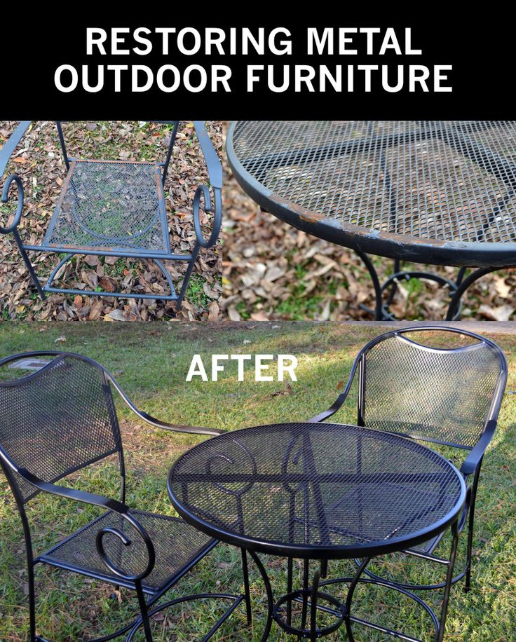How to take your rusty outdoor metal furniture and restore it to  like new   condition    Gardening DIY How To Guides   Pinterest   Metal furniture. How to take your rusty outdoor metal furniture and restore it to