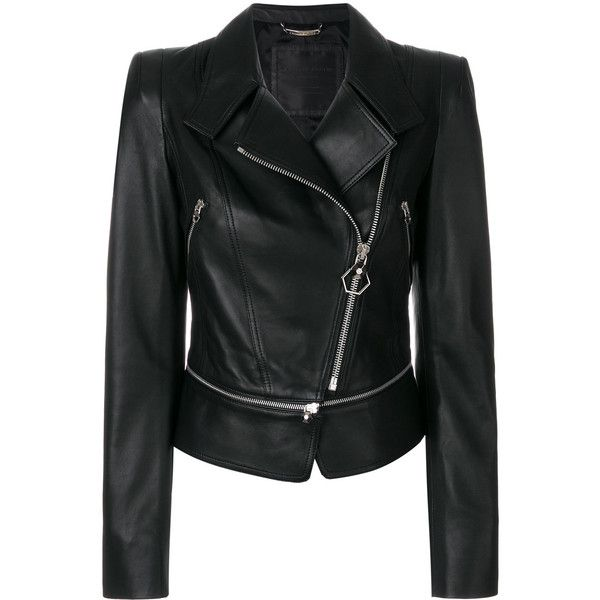 Philipp Plein Bonnif Frazier leather jacket (€2.530) ❤ liked on Polyvore featuring outerwear, jackets, black, philipp plein jacket, zip front jacket, genuine leather jackets, 100 leather jacket and leather jackets
