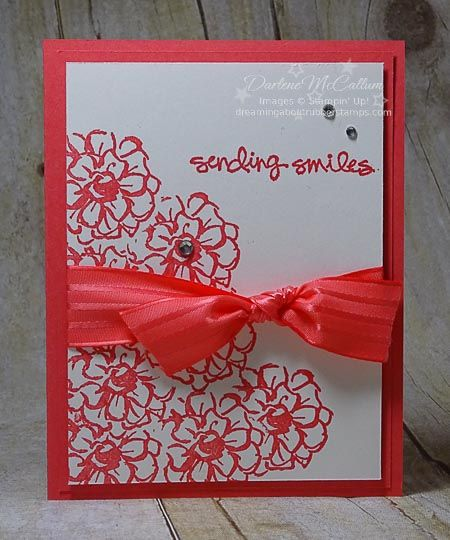 What I Love – www.dreamingaboutrubberstamps.com - This simple monochromatic card was made with the What I Love free Sale-a-bration stamp set from Stampin' Up! and Watermelon Wonder ink, card stock and ribbon