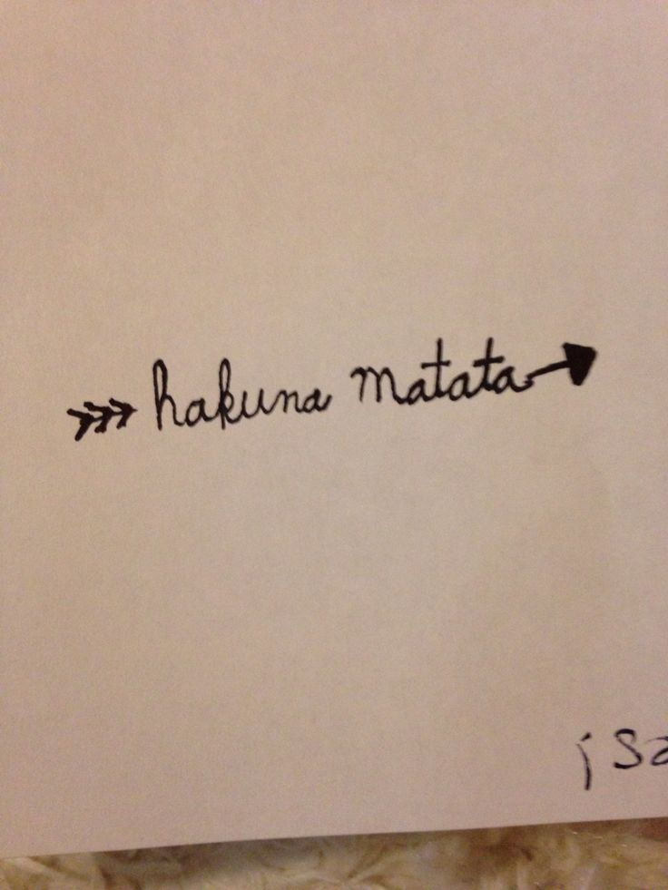 Tattoo arrow hakuna Matata lion king. I would love this on my hip