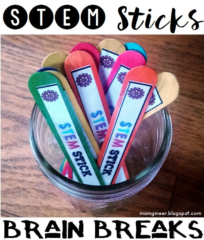 STEM Sticks for Brain Breaks - Set up a simple STEM station with materials you already have, and then use these STEM prompts for your little engineers. Fast and easy to set up, but meaningful and engaging to use. | momgineer