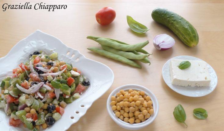 Insalata+greca+con+ceci+e+fagiolini+|+Ricetta+facile