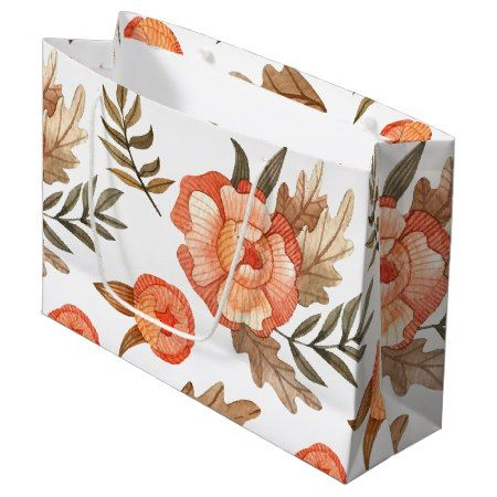 Orange Autumn hand drawn batik flower pattern Large Gift Bag - tap to personalize and get yours