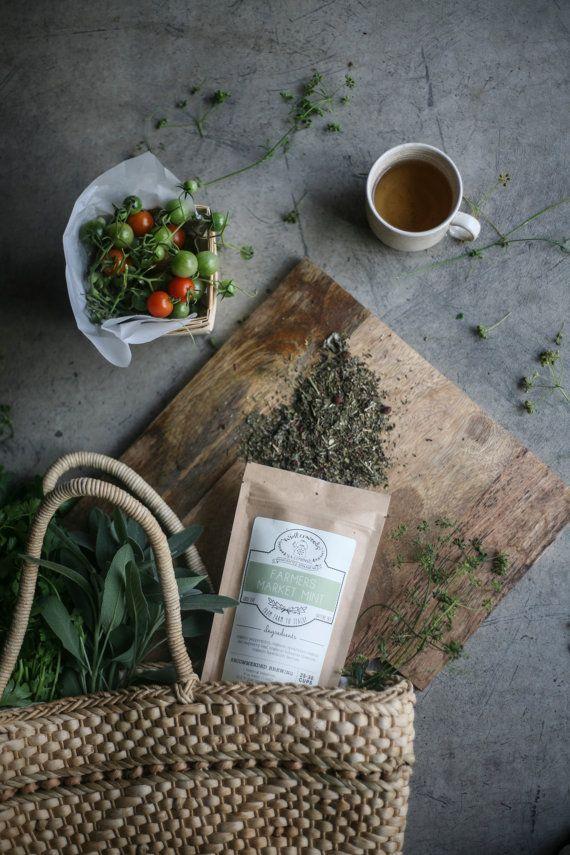 Farmers Market Mint Handcrafted Tea W/ Red Raspberry Leaf  | ORGANIC  | Northwest Grown Herbs | Winterwoods Tea Company Loose Leaf