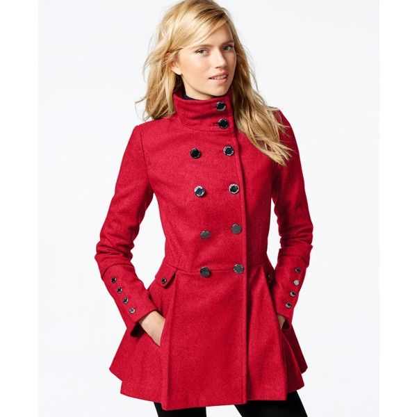 Red pea coat women
