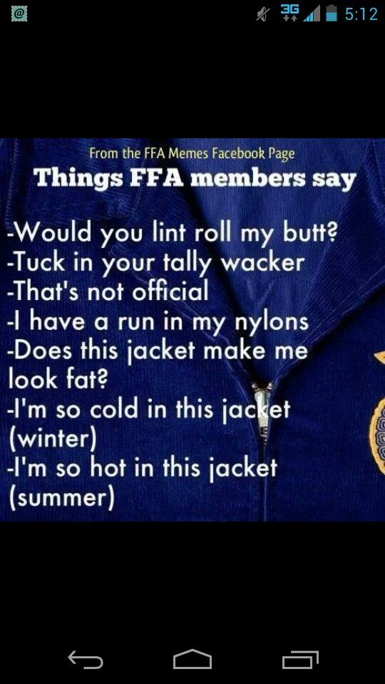 Yep! Wow...things must not have changed in 20 years!!! Best years of my life as a FFA Member!
