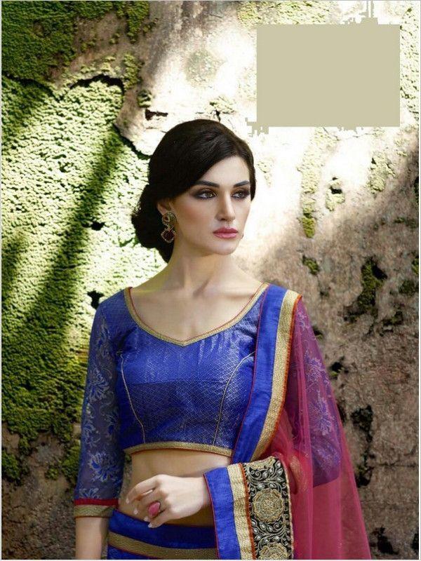 Blue Party Wear Net Women Lehenga
