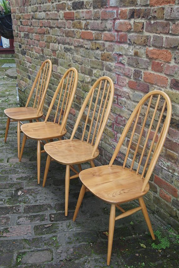 4 Stunning Ercol Dining Chairs, These chairs have been professionally restored, French Polished and Waxed. Made From Beech and Elm in a timeless design these chairs will look great in any style interior. Color: Brown Width: 49 cm Depth: 41 cm Height: 96 cm Seat Height: 42 cm