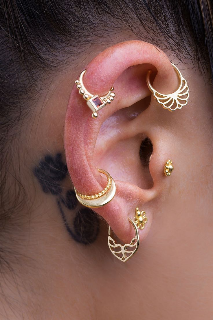 78e7e1f90 Unique Ear-Piercing, made of 14K Solid Yellow Gold, Indian Style Piercing  Jewelry