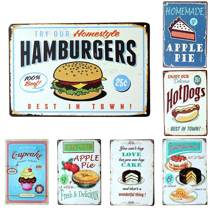 Vintage Metal Tin Sign Cake Dessert Hamburger Europe Retro Plaque Poster Bar Pub Club Wall Tavern Garage Home Decor 7 Style 1pcs