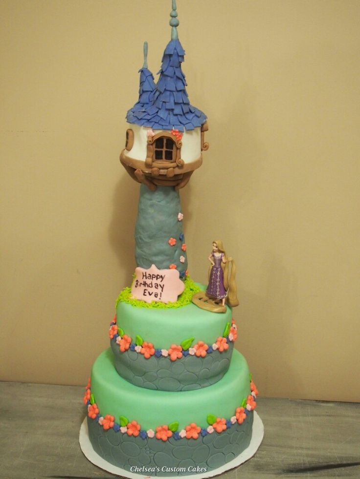 Edible Cake Images Custom : Tangled. Rapunzel Birthday cake. Everything is edible ...